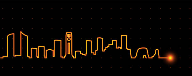 beirut light streak skyline - beirut stock illustrations