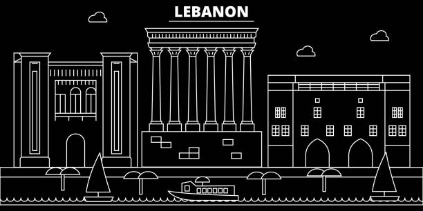 beirut silhouette skyline. lebanon - beirut vector city, lebanese linear architecture, buildings. beirut travel illustration, outline landmarks. lebanon flat icon, lebanese line banner - beirut stock illustrations