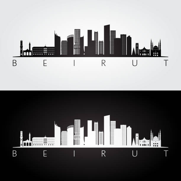 beirut skyline and landmarks silhouette, black and white design, vector illustration. - beirut stock illustrations