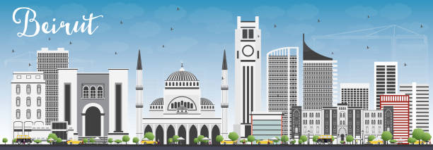 beirut skyline with gray buildings and blue sky. - beirut stock illustrations
