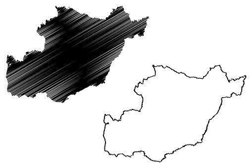 Beja District (Portuguese Republic, Portugal) map vector illustration, scribble sketch Beja map