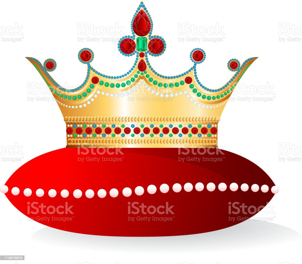 Bejeweled crown on pillow royalty-free stock vector art