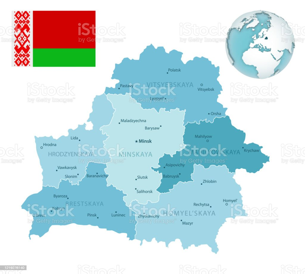 Picture of: Belarus Administrative Bluegreen Map With Country Flag And Location On A Globe Stock Illustration Download Image Now Istock