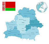 Belarus administrative blue-green map with country flag and location on a globe. Vector illustration