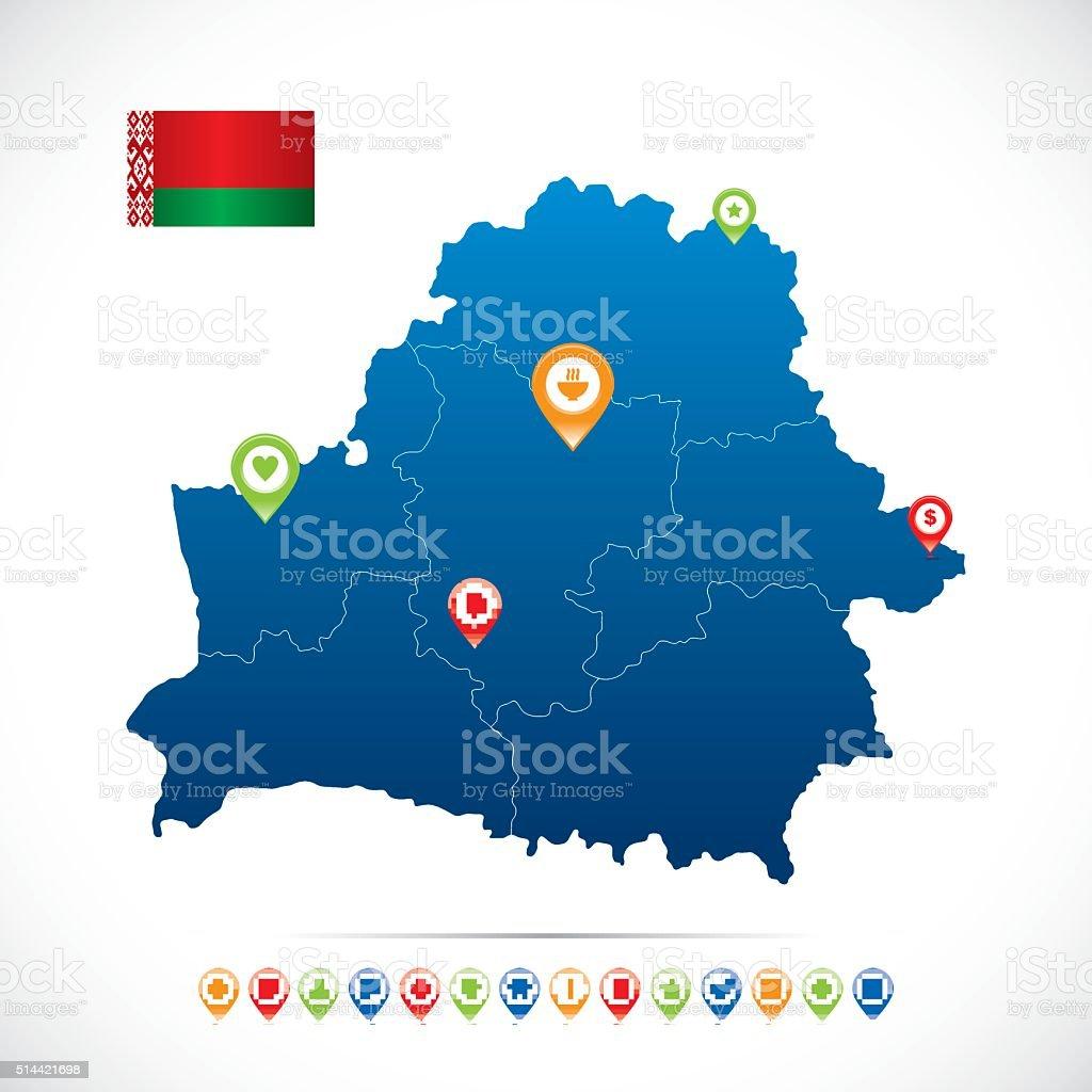 Belarus Blue Map