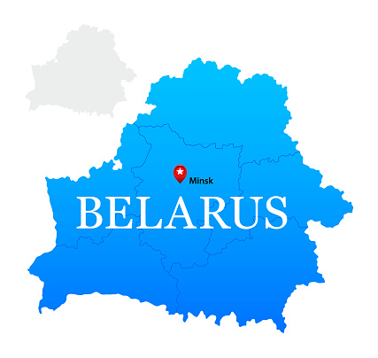 Belarus Blue Map with Regions