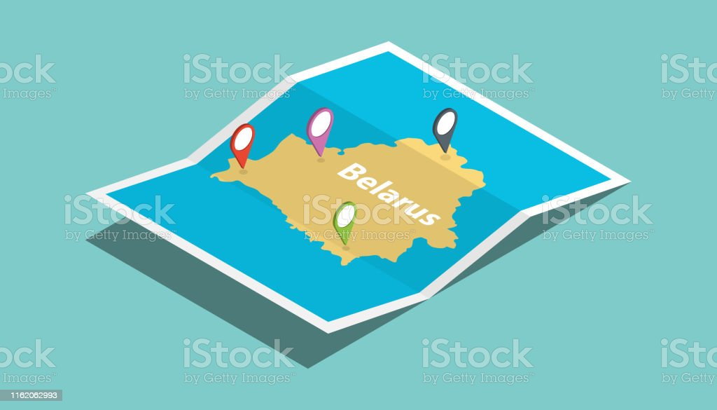 belarus explore maps with isometric style and pin location tag on top...
