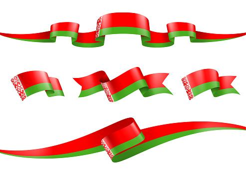 Belarus flag Ribbon Set - Vector Stock Illustration