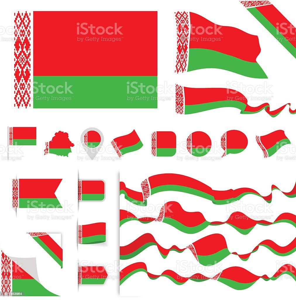 Belarus Flag Set vector art illustration