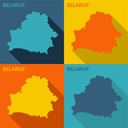 Belarus flat map available in four colors