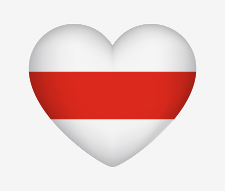 Belarus. Heart Shaped Historical Flag. White-Red-White. I Love My Country. Vector Isolated Illustration