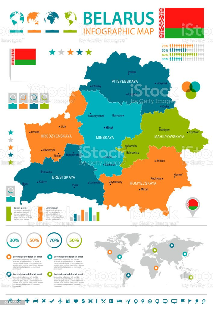 Belarus - infographic map and flag - Detailed Vector Illustration vector art illustration