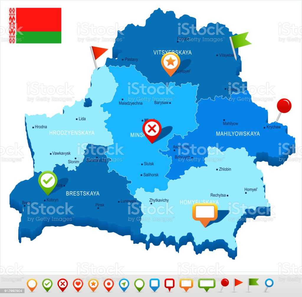 Belarus - map and flag - Detailed Vector Illustration vector art illustration