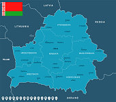 Belarus - map and flag - Detailed Vector Illustration