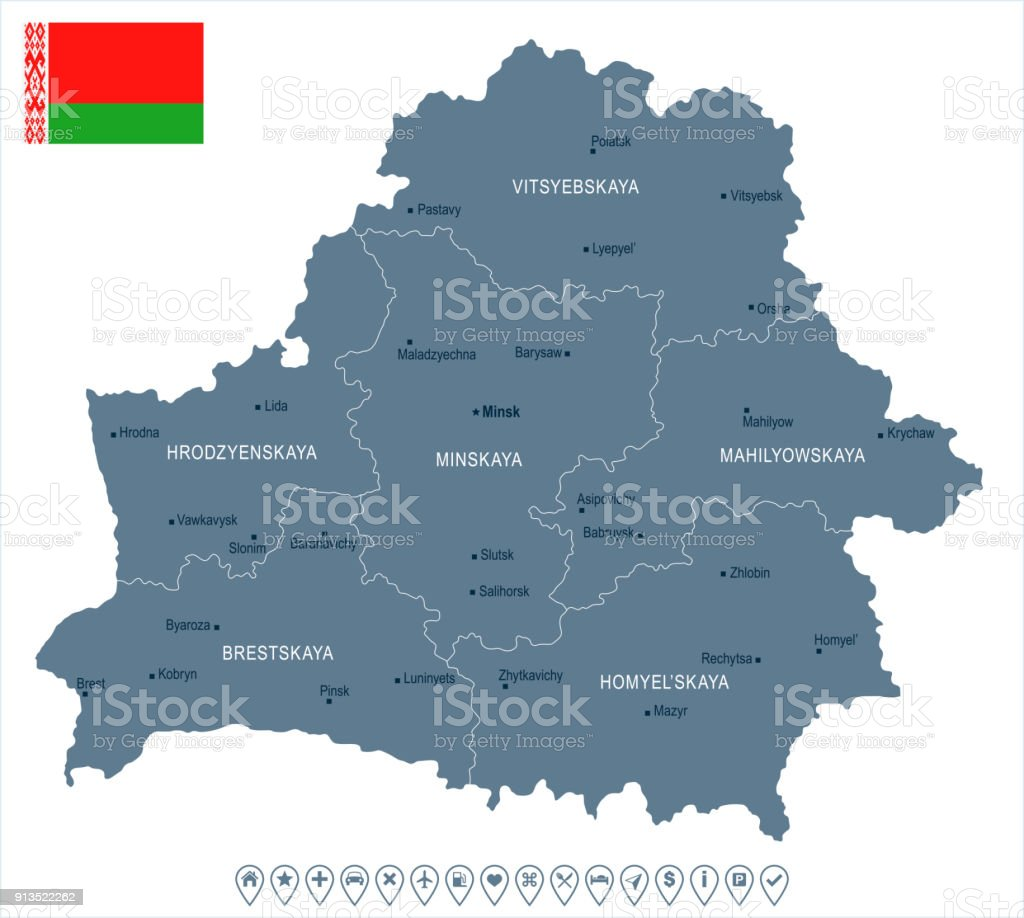 Belarus - map and flag Detailed Vector Illustration vector art illustration