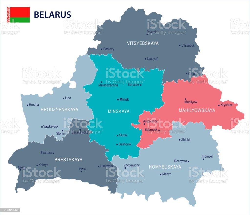 Ilustración de Bielorrusia Mapa Y Bandera Detallada Vector ...