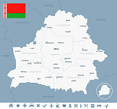Belarus - map and flag Detailed Vector Illustration
