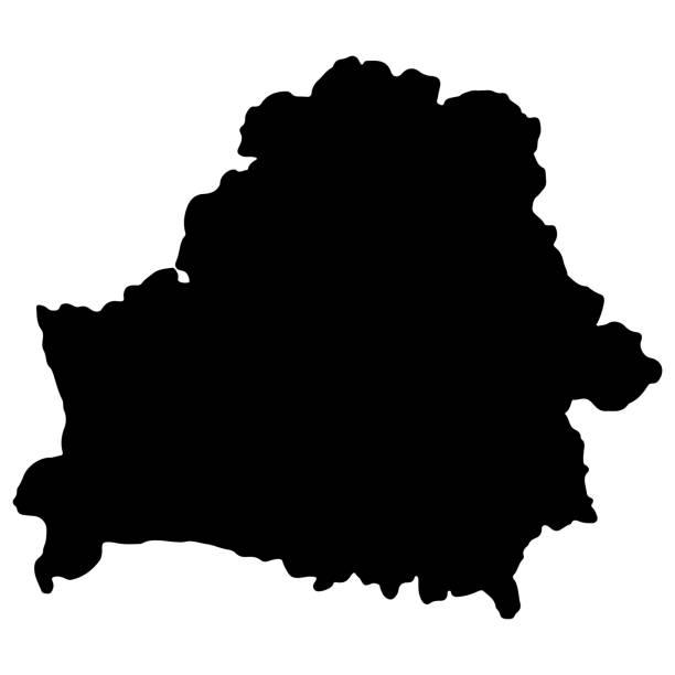 białoruś mapa czarna sylwetka wektor ilustracja eps 10 - białoruś stock illustrations