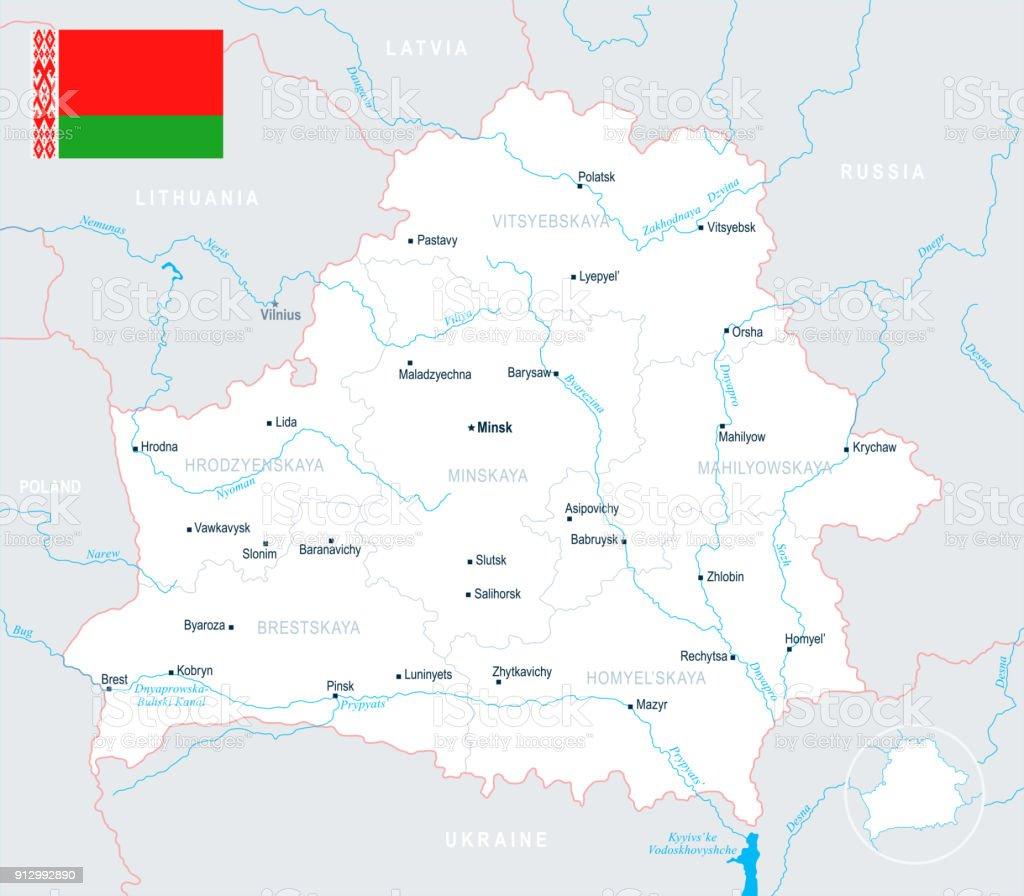 Belarus Map Detailed Vector Illustration Stock Vector Art More