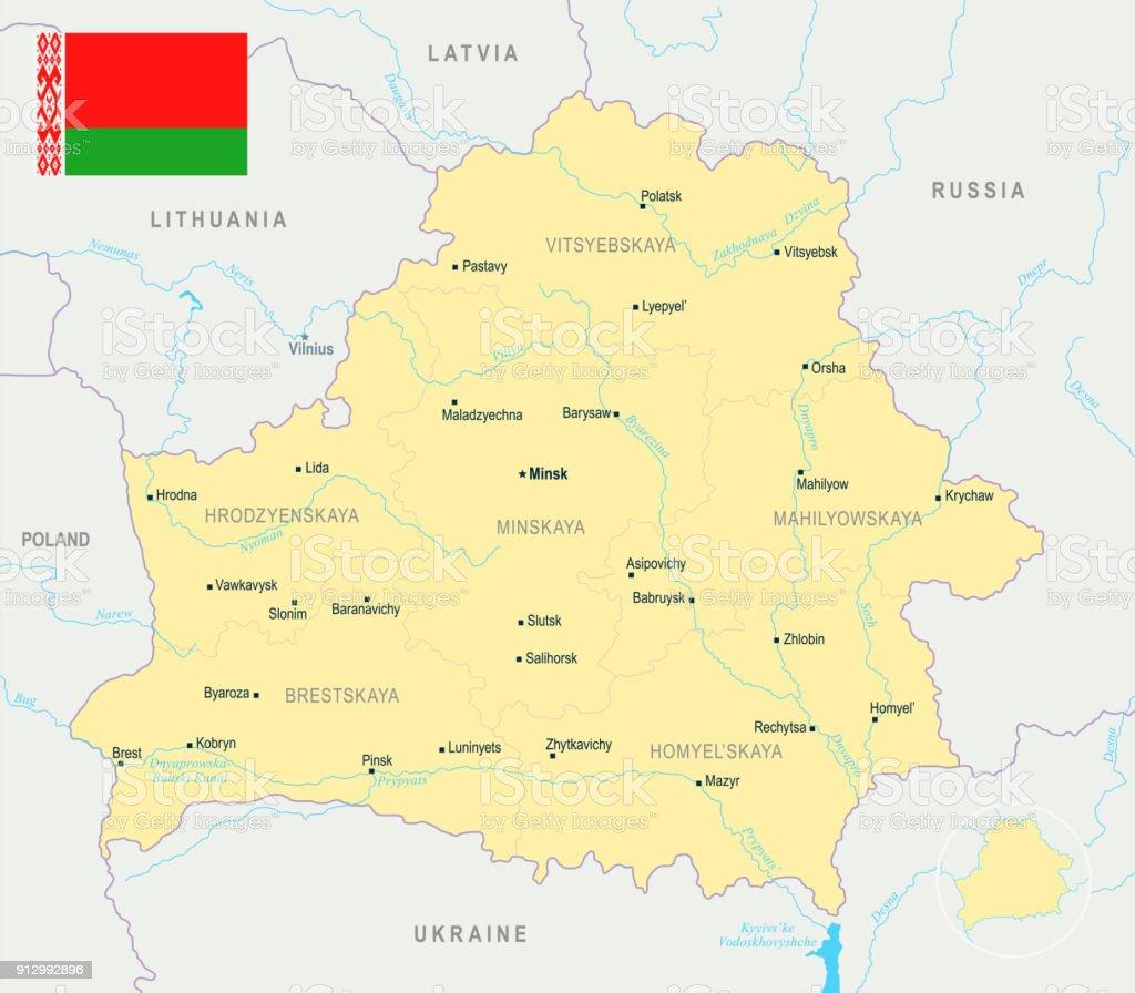 Belarus Karte Detaillierte Vektorillustration Stock Vektor Art und ...