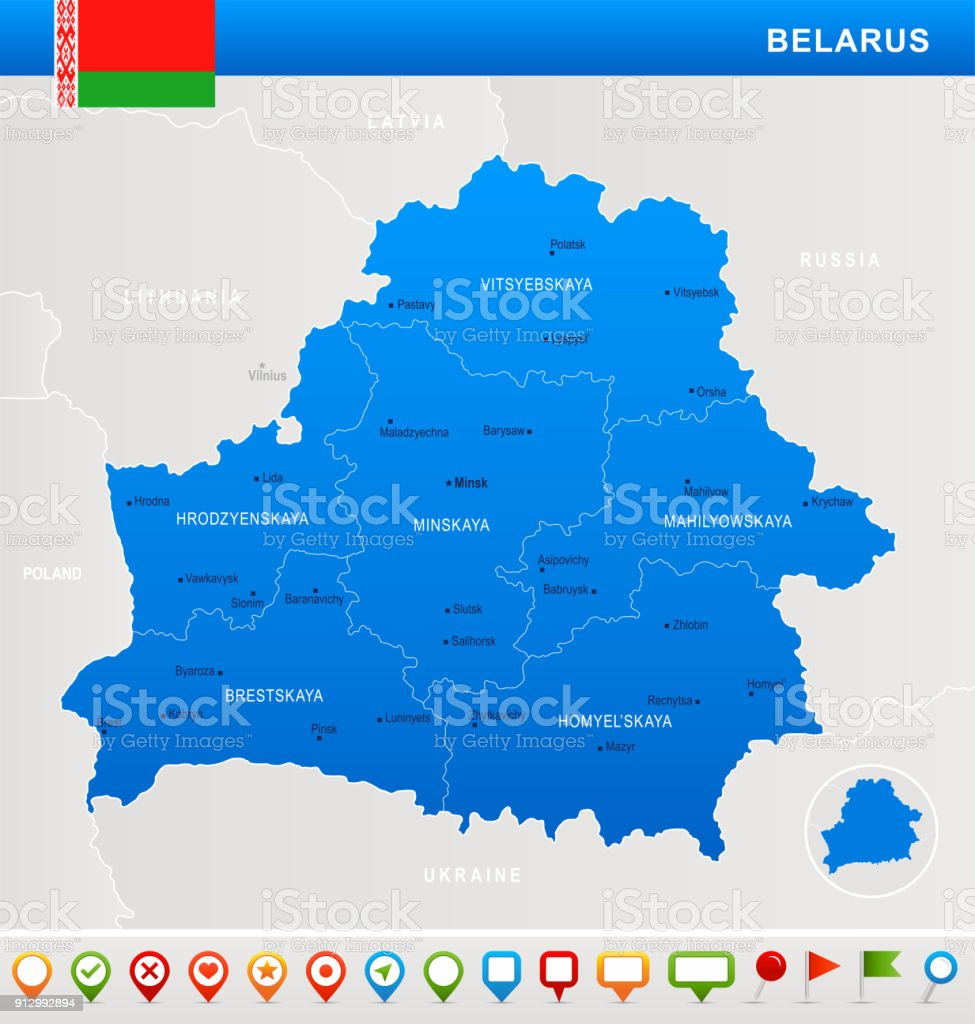 Belarus - map, flag and navigation icons - Detailed Vector Illustration vector art illustration