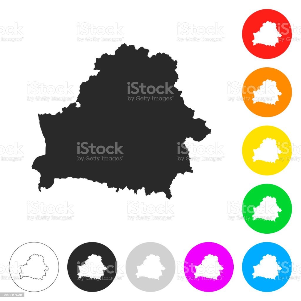 Belarus map - Flat icons on different color buttons vector art illustration