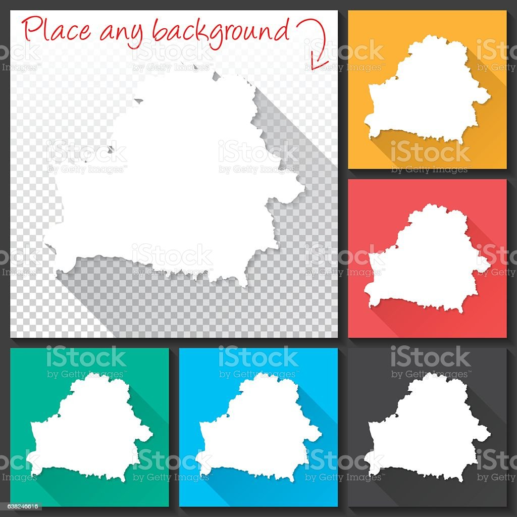 Belarus Map for design, Long Shadow, Flat Design vector art illustration