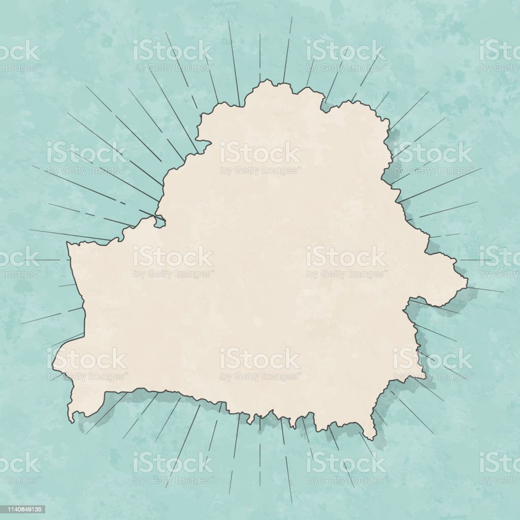 Map of Belarus in a trendy vintage style. Beautiful retro...