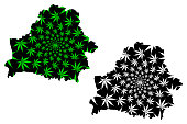 Belarus - map is designed cannabis leaf