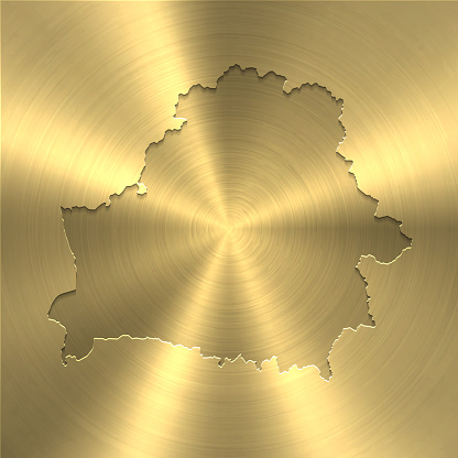 Belarus map on gold background - Circular brushed metal texture