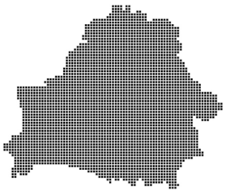 Belarus map square dotted style