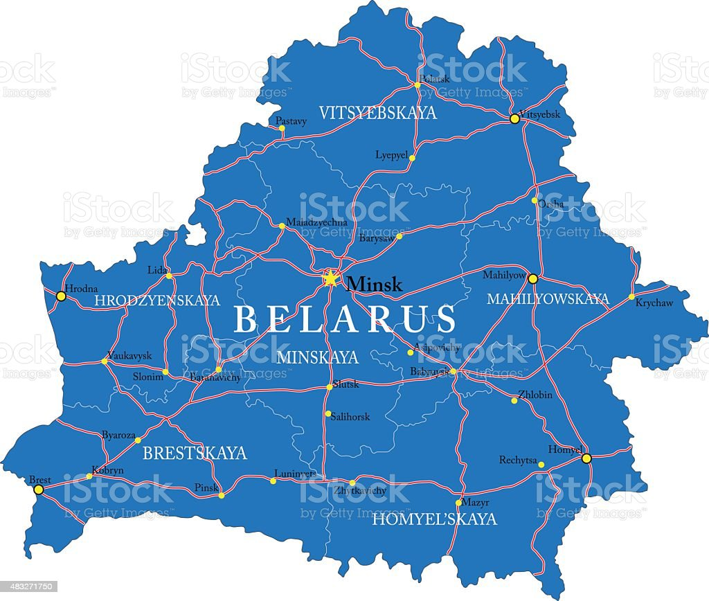 Belarus map vector art illustration