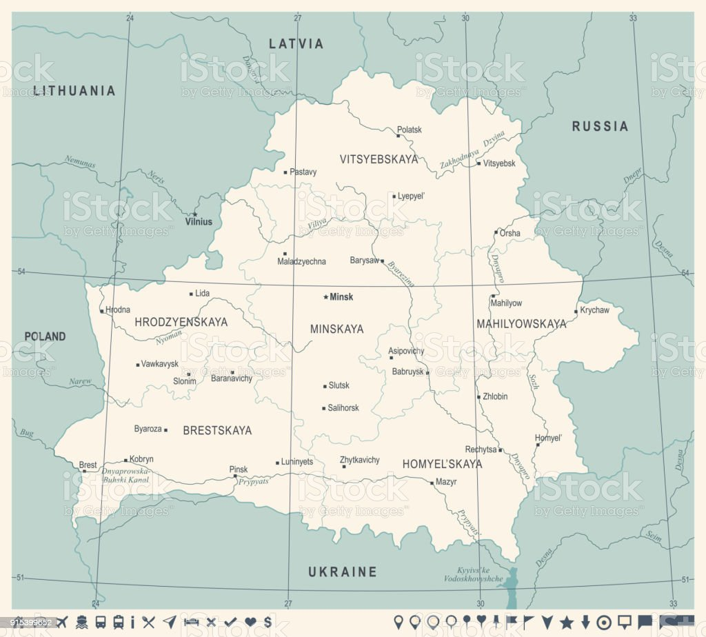 Belarus Map - Vintage Detailed Vector Illustration vector art illustration