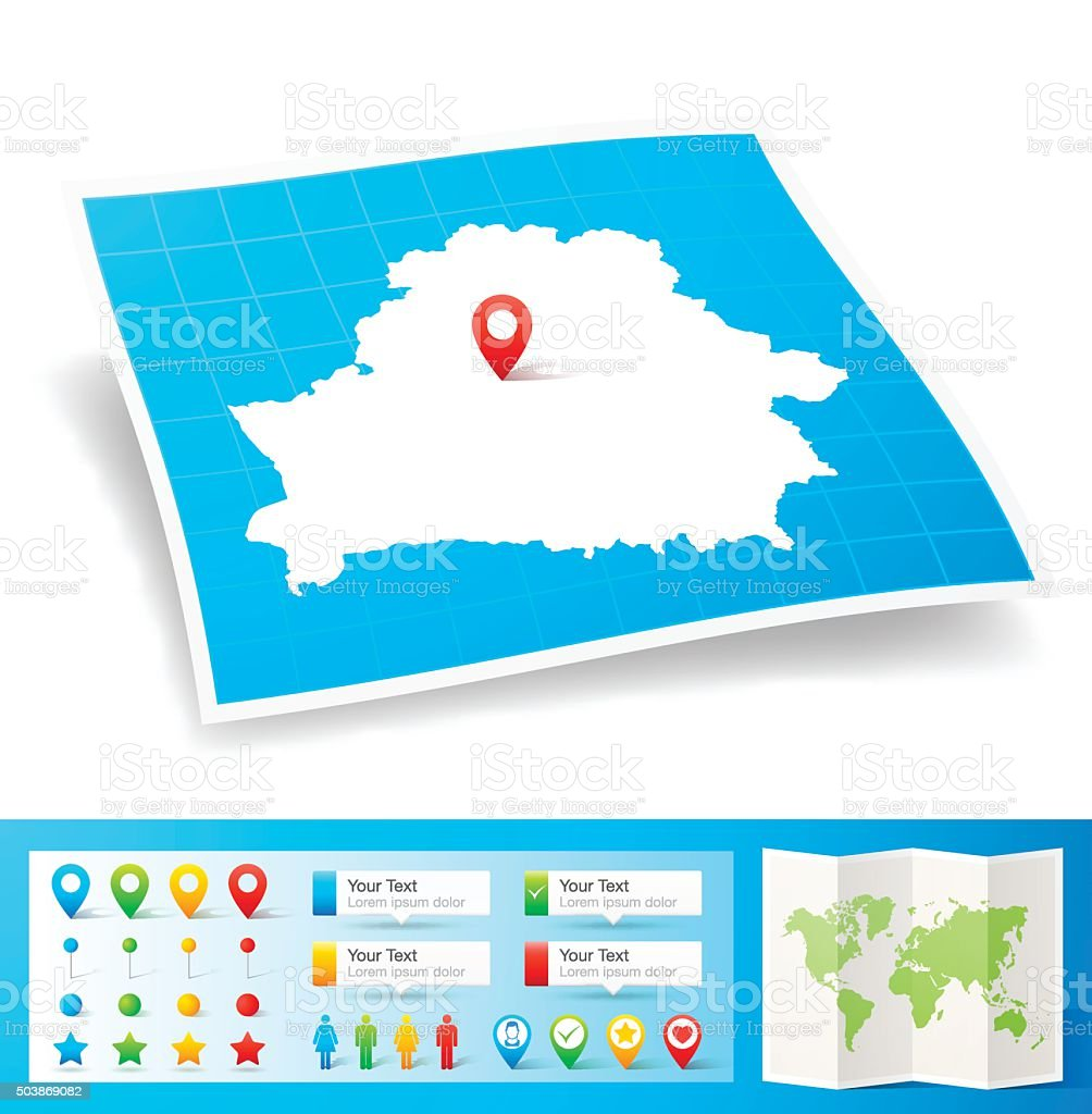 Belarus Map with location pins isolated on white Background vector art illustration