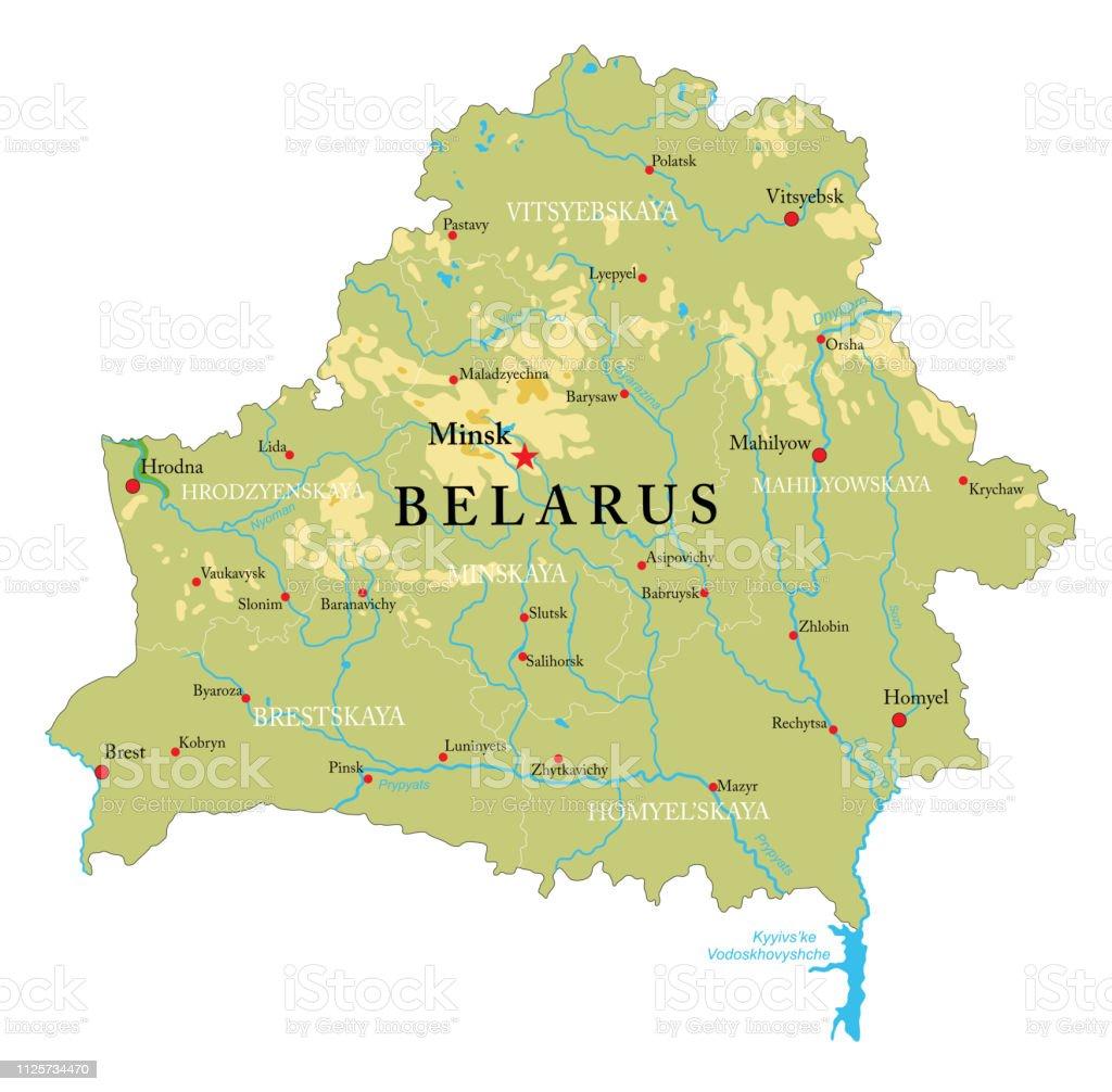 Belarus physical map vector art illustration
