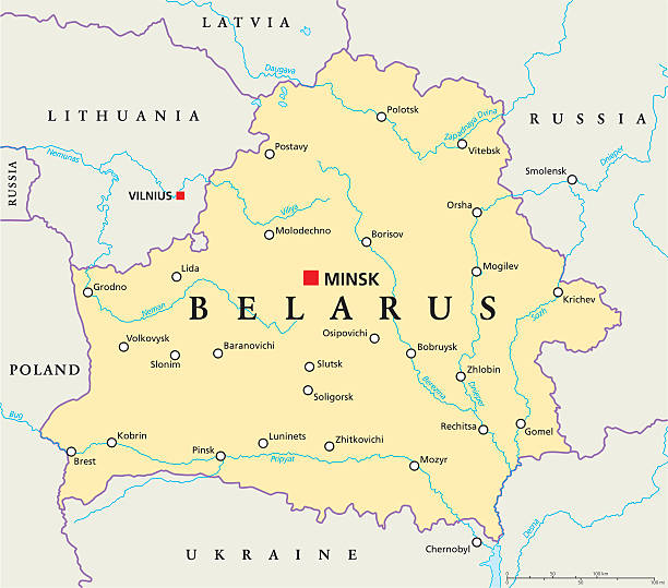 białoruś polityczne mapa - białoruś stock illustrations