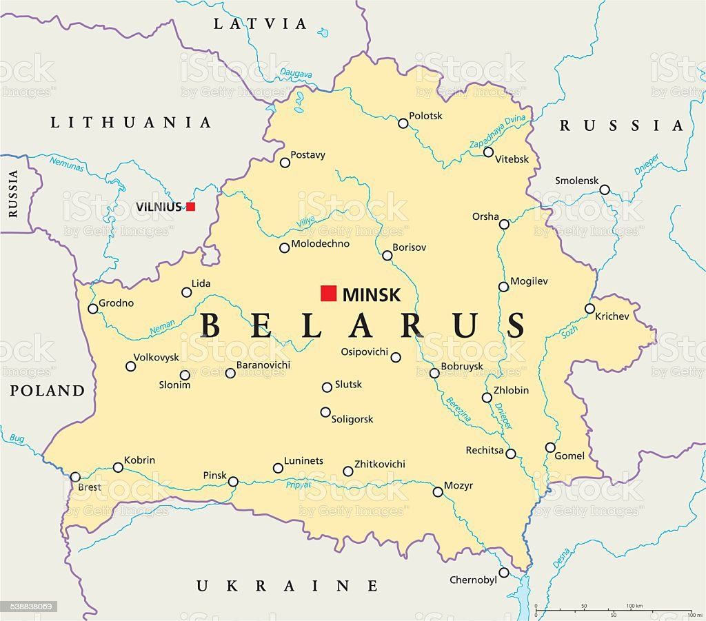 Belarus Political Map vector art illustration