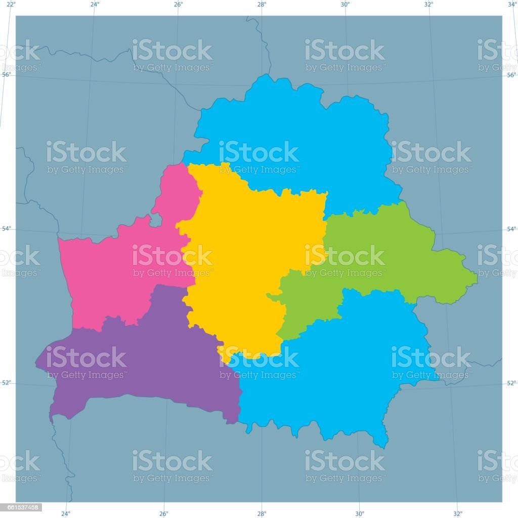 Belarus Vector Map Colorful Administrative Divisions vector art illustration