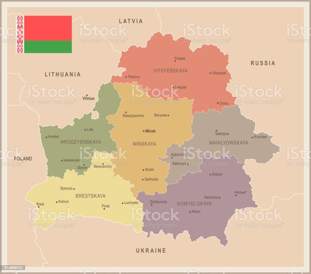 Ilustración de Bielorrusia Mapa Vintage Y Bandera Detallada Vector ...