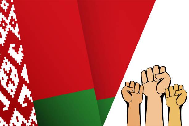 ilustraciones, imágenes clip art, dibujos animados e iconos de stock de bandera bielorrusa y manos humanas con puños. señal de protesta y lucha en blanco. - civil rights