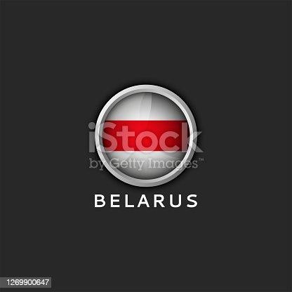 istock Belarusian white red white flag Belarus round 3d icon 1269900647