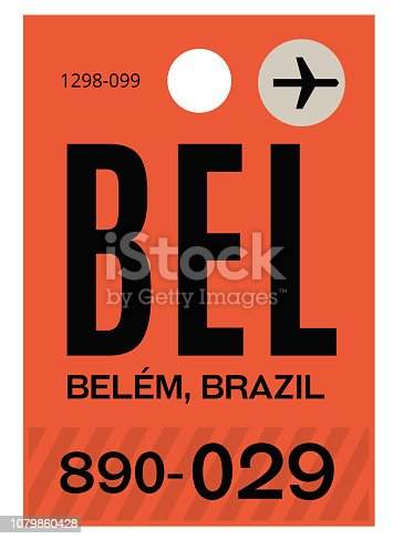 Belem realistically looking airport luggage tag illustration