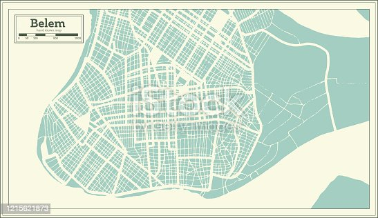 Belem Brazil City Map in Retro Style. Outline Map. Vector Illustration.