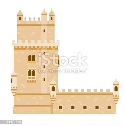 istock Belem Tower Icon on Transparent Background 1284471349