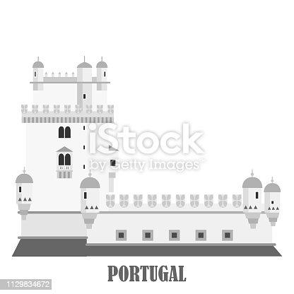 Belem Tower in Lisbon Portugal. Torre de Belem. Landmark travel sightseeing collection in flat cartoon style. Vector illustration
