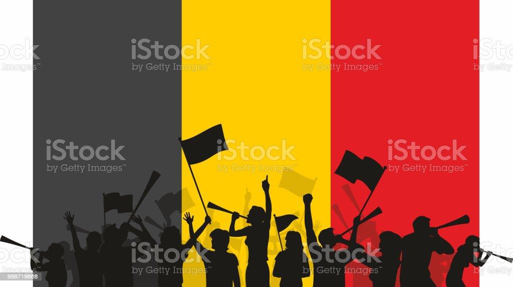 Belgian Fans and Flag vector art illustration