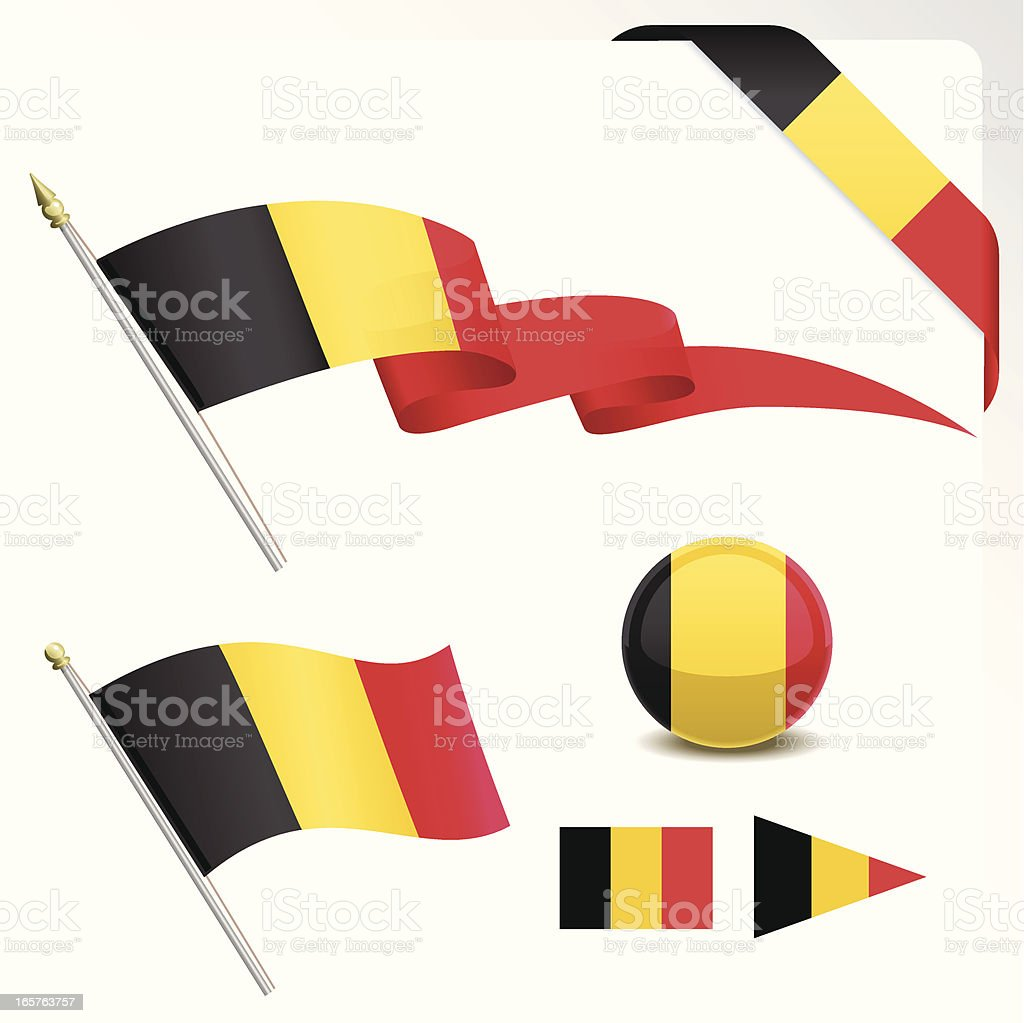 Belgian Flag Set royalty-free stock vector art