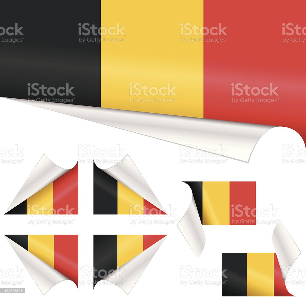 Belgian Flags behind Curled Paper royalty-free stock vector art