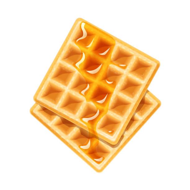 蜂蜜とのベルギー ワッフル。デザートの甘さ。 - ワッフル点のイラスト素材/クリップアート素材/マンガ素材/アイコン素材