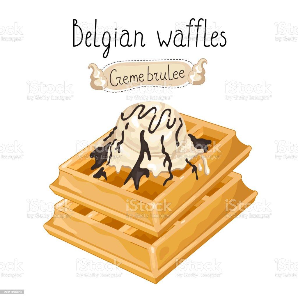 Belgian waffles with ice cream on white background vector art illustration